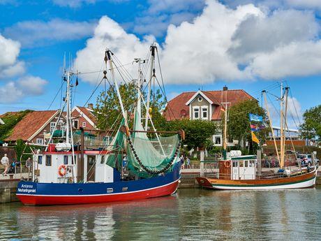 Krabbenkutter liegen im Hafen von Neuharlingersiel an
